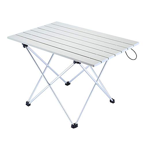 Movaty Mesa Plegable para Acampar Mesa para Exteriores Portátil Escritorio de Aluminio Liviano con Bolsa de Transporte para Picnic,Barbacoa,Pesca,Excursiones y Viajes,56 * 41 * 40cm(L*W*H)