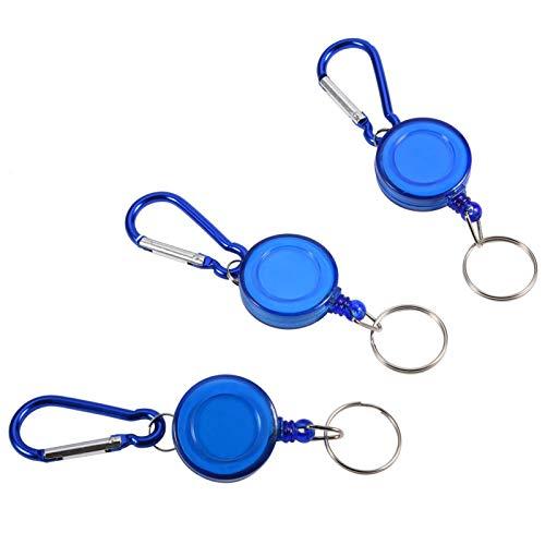 RiToEasysports Llavero de Carrete retráctil de 3 Piezas, tapón de cordón de Nailon, Llavero de Soporte de Carrete de Anillo retráctil con Clip y Llavero(Azul)