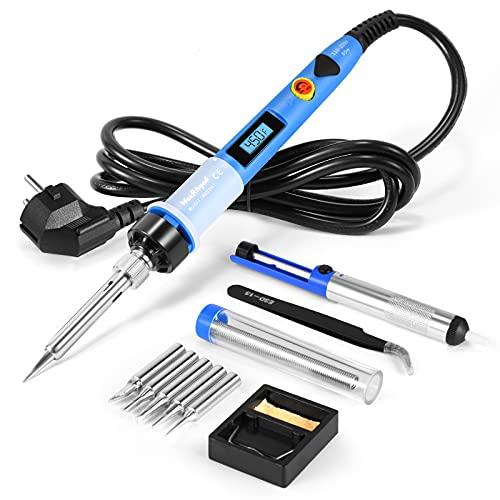 Fer à Souder Kit de Soudure WaxRhyed, pistolet à souder 80W digital LCD avec température réglable 200-450°C et interrupteur marche/arrêt, 5 pointes de soudure, pompe à dessouder