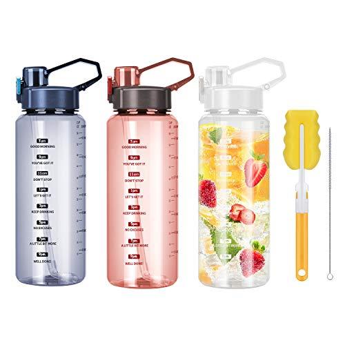 2 Liter Sport Trinkflasche, Bpa Frei Motivierende Wasserflasche mit Zeitmarkierungen und Strohhalm, Auslaufsicher Fitness Outdoor Aktivitäten GroßE Sportflasche, Nachhaltige flasche (rot)