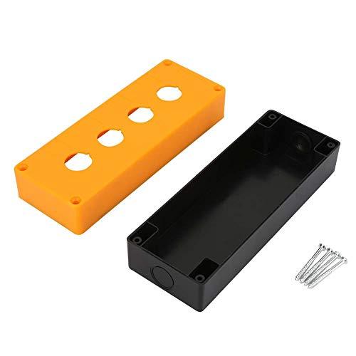 Caja de interruptores, Chacerls Caja de interruptores BX4 22 mm Botón de cuatro orificios Control de interruptor Caja protectora Caja impermeable(Amarillo)