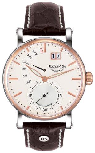 Reloj Hombres Bruno Soehnle Cuarzo–Gráfico analógica Pulsera Piel marrón y Esfera Plata 17–63073–247
