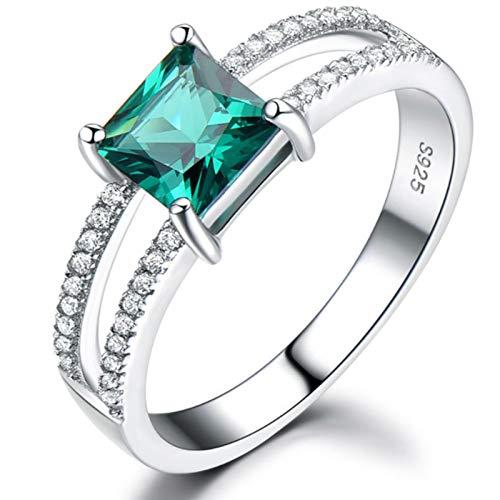 RXSHOUSH Anillo de plata de ley 925 para mujer, anillo de topacio, anillo de boda, joyería de plata de regalo verde - Nº 7