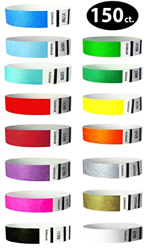 "Goldistock 3/4"" Tyvek Wristbands Ideal Variety Pack 15 Colors- 150 Ct.- Neon: Green, Blue, Red, Orange, Yellow, Pink, Purple, Aqua Metallic Gold & Silver, White, Black, Evergreen, L. Blue, D. Red"