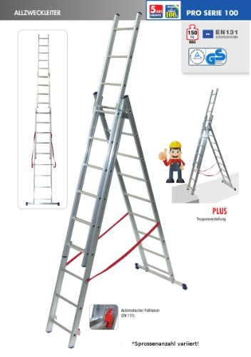Facal 5984630 Stilo Scala in alluminio, 7,06 m, 3 rampe 11+11+11