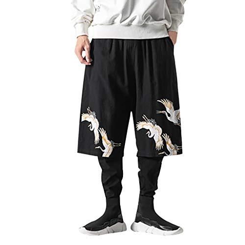 Neue Flachs-Retro-Freizeithosen Lässige Atmungsaktiv Sommerhose Loose für Herren Große, individuell bedruckte Hosenhose mit Band Einfarbig Sommerhose für Männer