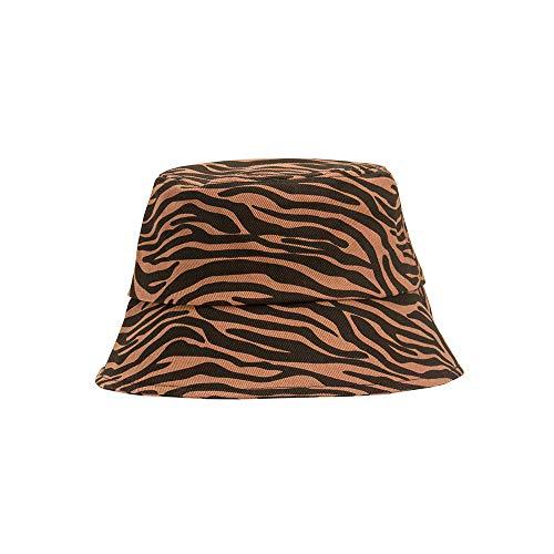 Sombrero Sombrero De Pescador Retro con Estampado De Cebra Bloqueador Solar De Verano Elegante Cubo Sombrilla Lavabo Sombrero Café