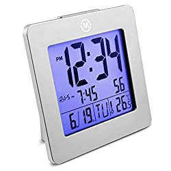Marathon Digital Desktop Clock with Nightowl Super Glow Backlight CL030050GG (Graphite Grey)