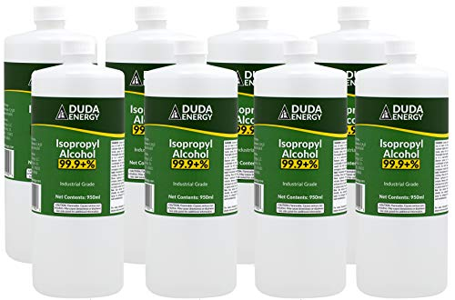 Duda Energy Bottles of 99.9+% Pure Isopropyl Industrial Grade IPA Concentrated Rubbing Alcohol, Clear, 32.12 Fl Oz (Pack of 8), 256.8 Fl Oz