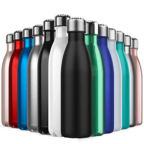 BICASLOVE Vakuum Isolierte Edelstahl Trinkflasche - 500ml, Die Thermoskanne hält 18 Stunden heiß und 24 Stunden kalt für Kinder, Kleinkinder, Schule, Sport, Outdoor, Fitness, Büro(Schwarz)