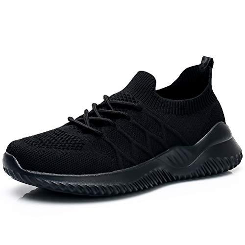 Akk Womens Athletic Walking Shoes - Memory Foam Lightweight Tennis Sports Shoes Gym Jogging Slip On Running Sneakers Black 11.5