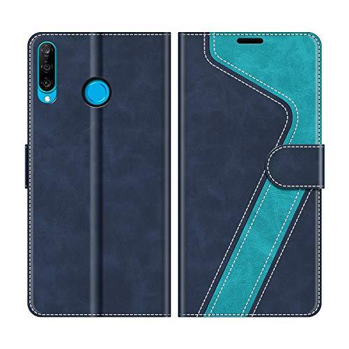 MOBESV Handyhülle für Huawei P30 Lite Hülle Leder, Huawei P30 Lite New Edition Klapphülle Handytasche Hülle für Huawei P30 Lite / P30 Lite New Edition Handy Hüllen, Modisch Blau