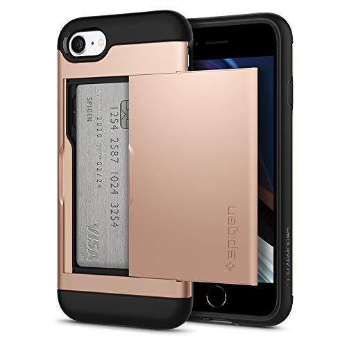 Spigen Funda Slim Armor CS Compatible con Apple iPhone SE 2020/ iPhone 8/7, Almacenar dos tarjetas y dinero - Blush Gold