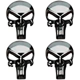 Creatrill Gunmetal Plating 3D Metal Decal/Sticker - Tactical Skull for Gun Magazine, Magwell, Mag, Car, Truck, Motorcycle, etc (4 Pack)
