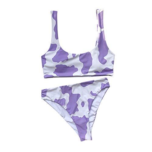 Frauen Zweiteiliger Badeanzug Cow Print Bikini Set Push-Up Badebekleidung Beachwear Racerback Crop Top mit Slips Sexy Triangle Badeanzüge Schwimmkostüme Beachwear(Weiß,M)