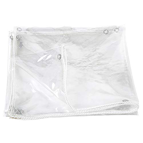 N / A Heavy Duty Tarpaulin Transparent Tarp Waterproof Heavy Duty, Weatherproof Tarpaulin w/Grommets, Durable Pergola Tent Boat Pool PVC Cover, 500g(Size:1.6×2m)