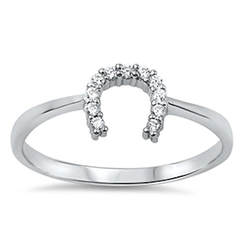 Oxford Diamond Co Horse Shoe Cubic Zirconia .925 Sterling Silver Ring Sizes 4