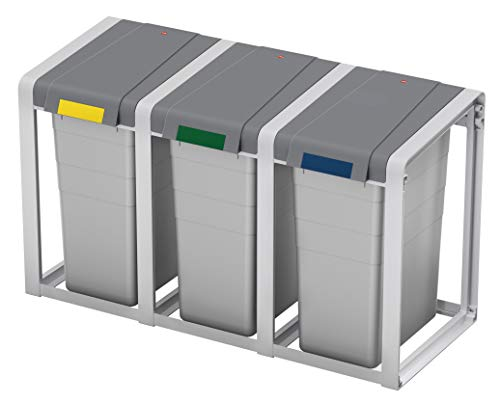 Hailo ProfiLine Öko XL, Flexibles Mülltrennsystem, Erweiterungseinheit, 38 Liter, robustes Gestell, aus Kunststoff, herausnehmbarer Kunststoff-Inneneimer, grau, 0935-302