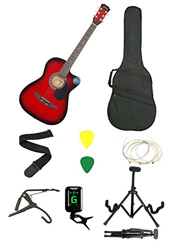 Jixing Red Acoustic Guitar with Foldable Stand,Tuner,Capo,Bag,Starp,strings,picks