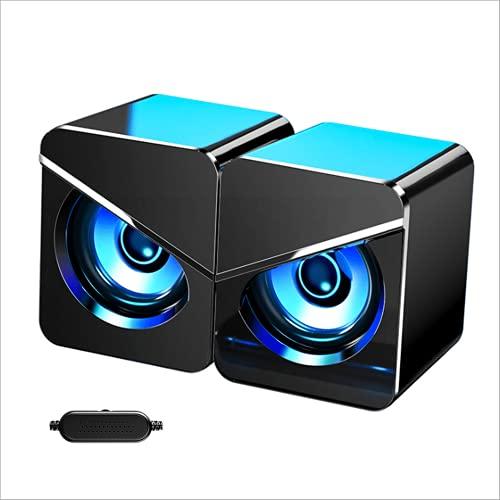 Altavoces para PC, Sistema de altavoces estéreo 2.0 USB con iluminación LED de colores Altavoz para PC Computadora de escritorio, Computadora portátil, Juegos de oficina en casa, Plug and Play