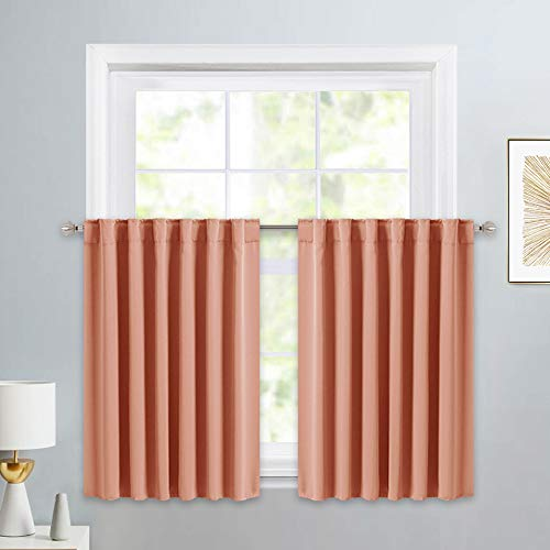 PONY DANCE Kitchen Curtain Tiers - Home Decoration Valances Window Coverings Modern Style for Living Room Match with Draperies, 52 W x 36 L, Coral, 2 Panels
