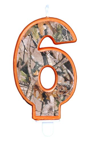 Havercamp Next Camo Party Birthday Number 6' Candle   1 Count   Great for Hunter Themed Party, Camouflage Motif, Birthday Event, Graduation Party, Father's Day Celebration, Wedding Anniversary