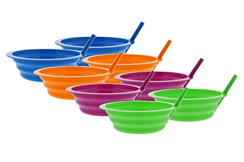 Arrow Sip-A-Bowl With Built In Straw, 22 oz, Blue, Pink, Green, Orange (8 Pack)