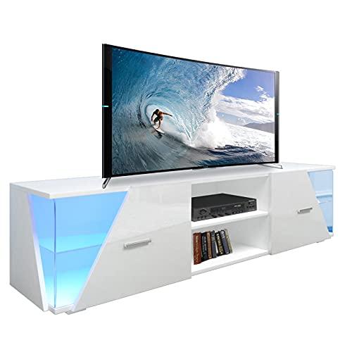Dripex TV Schrank Lowboard Weiß Hochglanz mit LED Beleuchtung TV Board Fernsehtisch TV Vitrine, 150x37x35 cm