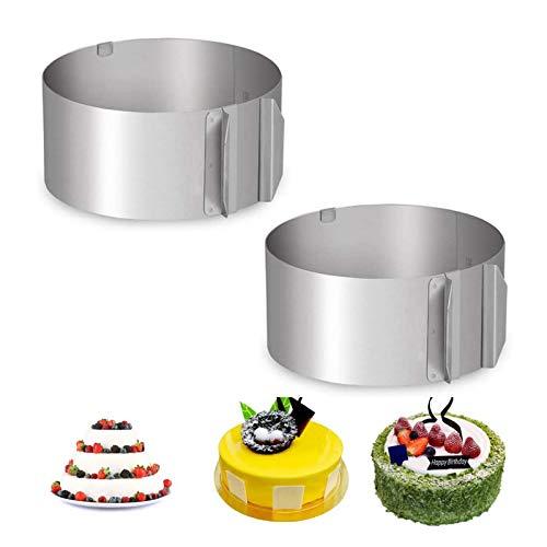 2 Stück Verstellbar Edelstahl Tortenring, Kuchenring, Runde Kuchenringform, Verstellbare Mousse-Kuchenform aus Edelstahl, mit Festen Clips, zum Backen von Kuchen-Mousse-Formen (6-8 Zoll)