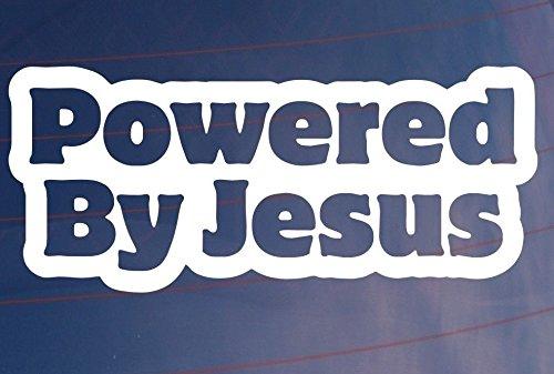 Powerd by Jesús 15cm Decal Pegatinas Parabrisas barniz Tuning Auto Adhesivo de alto rendimiento pantalla de myrockshirt estrellina Estrella de la suerte