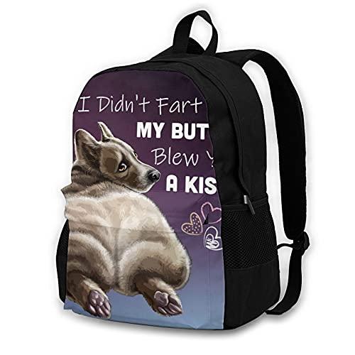 wobzfrok I Didnt Fart My Butt Blew You A Kiss Corgi Novelty Youth Backpack Shoulder Bag for School