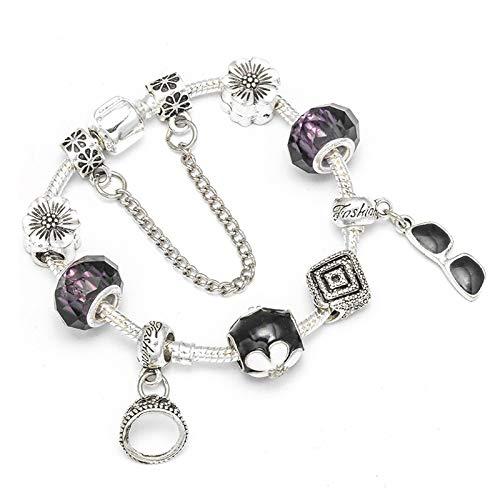 Cadena de serpiente de bricolaje Be-Jewelry regalo de boda color plata flor encanto pulsera para las mujeres verano joyería C01 20cm