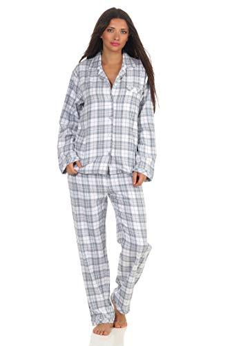 Damen Langarm Flanell Pyjama Schlafanzug kariert - 202 201 15 602, Farbe:Karo blau, Größe:44/46