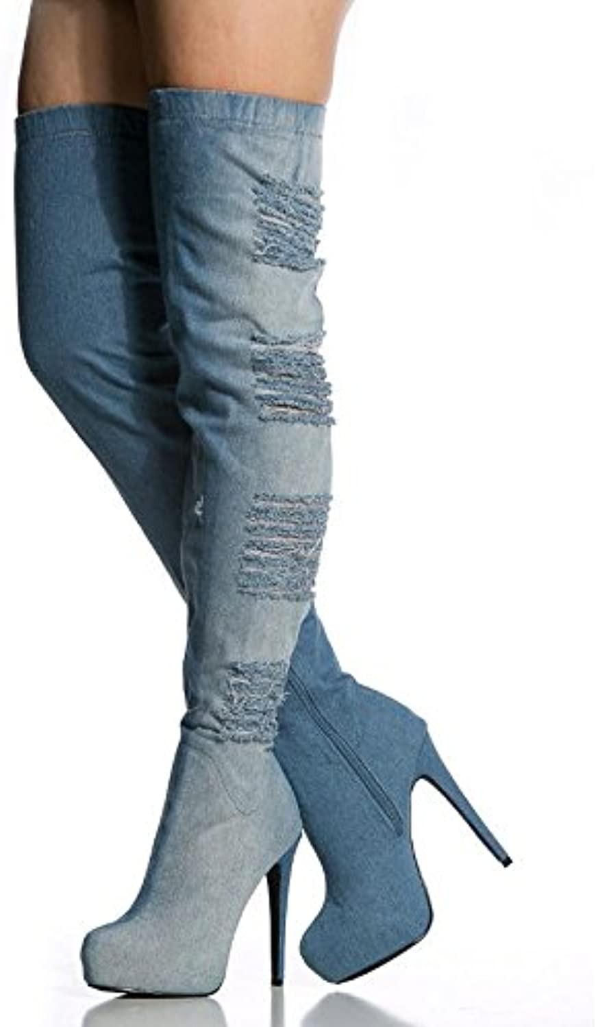 L@YC Women's Boots Cowboy Boots Cowboy Waterproof Table High-Heeled Elastic Boots Women's shoes