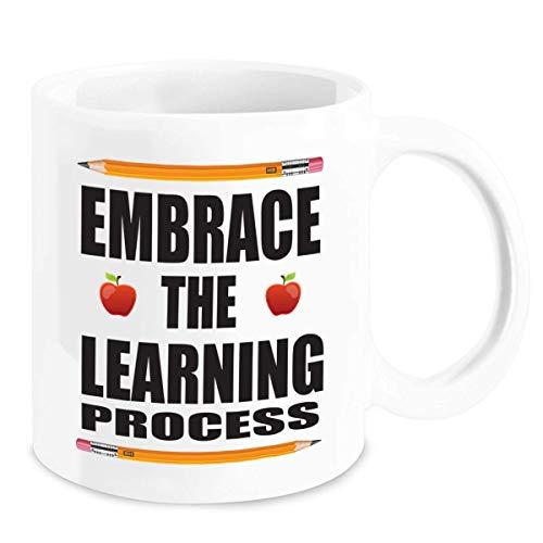 Regalos de maestra de jardín de infantes - Abrace el proceso de aprendizaje Taza de café - Día de madres único, cumpleaños, regalo de Navidad para mamá, preescolar, escuela primaria, primer grado, mae