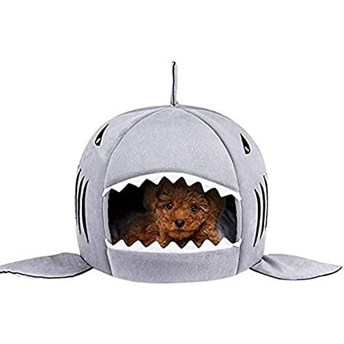 WULIU Cama para perros y gatos, cueva de peluche, sofá para perros, saco de dormir, tienda para gatos, cesta para perros, cama lavable, cómoda, cojín para mascotas, forma de tiburón (gris)