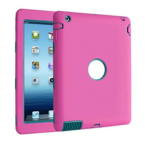 TKOOFN iPad 2 3 4 Custodia, Custodia Ibrida Antiurto Resistente Tre-Strati Cover + Pennino Nero 9.0 + Schermo Protettore + Panno per iPad 2 iPad 3 iPad 4
