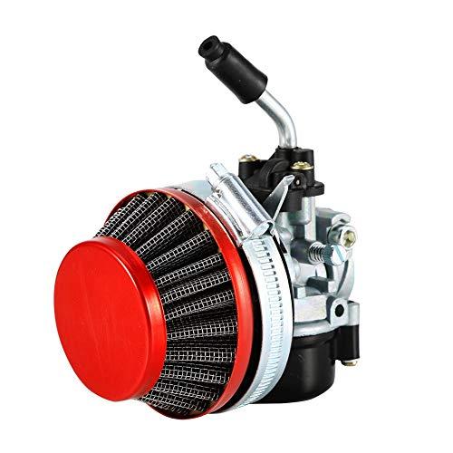 EVGATSAUTO Accesorios de repuesto Carburador de carreras apto para 40cc 50cc 80cc Motor de 2 tiempos Bicicleta motorizada ATV Rojo