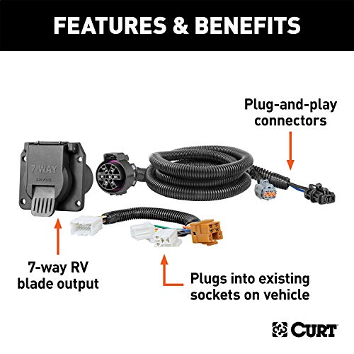 CURT 56226 Vehicle-Side Custom RV Blade 7-Pin Trailer Wiring Harness for Select Nissan Frontier, Pathfinder, Xterra, Suzuki Equator