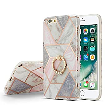DEFBSC iPhone 7 iPhone 8 iPhone SE 2020 Marble Case with Ring Kickstand,Marble Design 360 Degree Rotating Ring Kickstand Soft TPU Shockproof Case Cover for iPhone 7/8/SE 2020 4.7 Inch  Marble