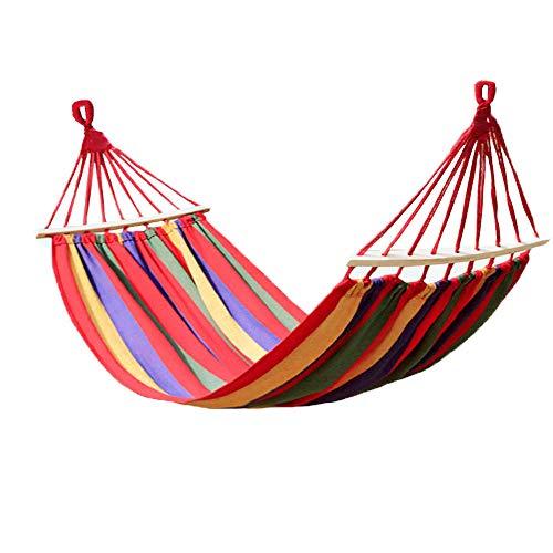KEPEAK Outdoor Baumwolle hängematte 280 x 150 cm, Tragkraft 300 kg Tragbar mit Tragetasche für Rucksacktouren, Camping, Hinterhof, Garten (Rot)