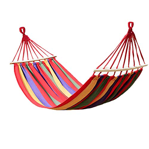 KEPEAK Cotton Hammock Swing Bed Brazilian Double Hammock, Soft Comfortable Fabric Canvas Hammock for Patio, Porch, Garden or Backyard