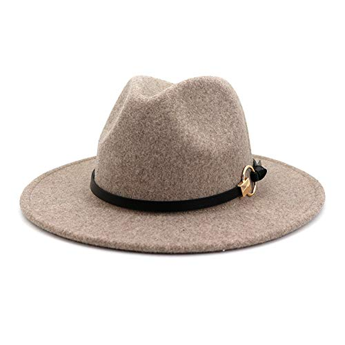 Lisianthus Women Belt Buckle Wool Wide Brim Fedora Hat (B-Oatmeal)