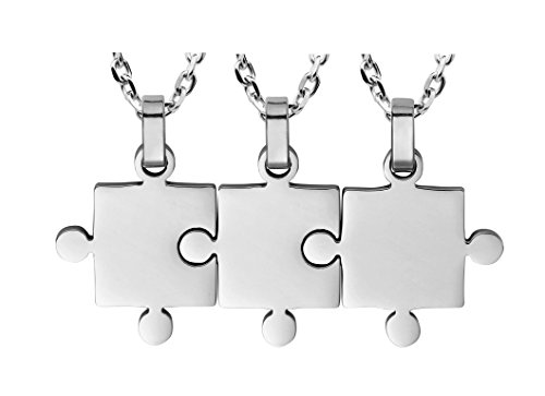 3 Piece Puzzle Necklace Friendship - Women Men Stainless Steel Pendant Silver Tone Jewelry