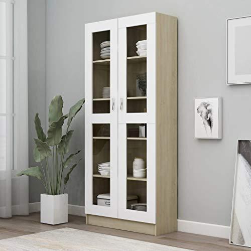 FAMIROSA Vitrinenschrank Weiß Sonoma-Eiche 82,5x30,5x185,5 cm Spanplatte
