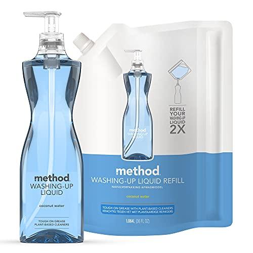 Method Washing Up Liquid, Coconut Water, 532 ml + Method Washing Up Liquid Refill, Coconut Water, 1 L