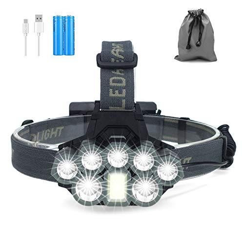 Linterna Frontal, 8 LED 6 Modos Linterna Cabeza Recargable Por USB Súper Brillante, Linternas Frontales Impermeable Perfecta para Correr, Pescar, Acampar, Leer