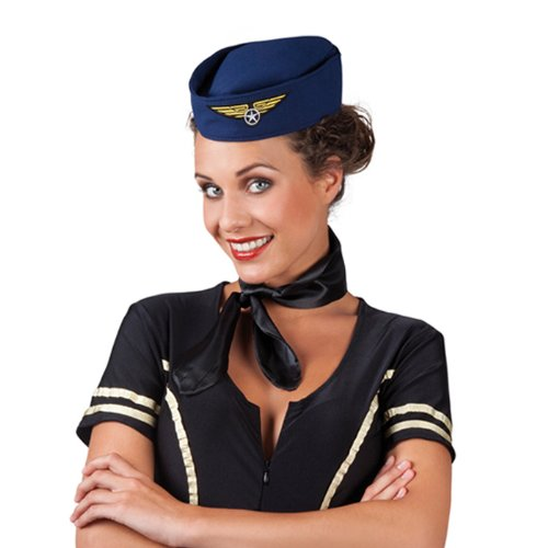 PARTY DISCOUNT NEU Hut Stewardess Schiffchen, blau