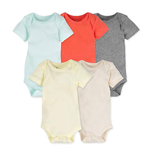5-Pack Solid 100% Cotton MiracleWear Bodysuits by Miracle Blanket (6-9 Months, Neutral Solid Colors)