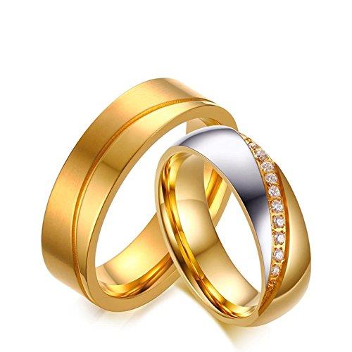 Blisfille Eheringe Vergoldet Ringe Silber Für Damen Herren Titanring Zweifarbig Glatt Linie Welle Schlicht Glänzend Zirkonia Trauung Paarpreis Mit Kostenlos Gravur 1 Paar Ringe Für Paare